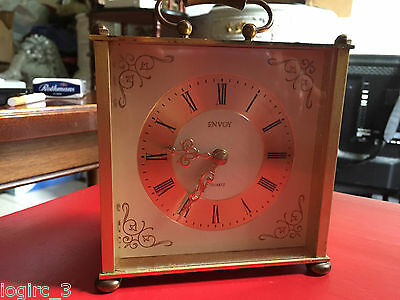 Vintage ENVOY Brass Carriage Mantel clock