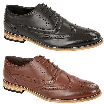 Mens Faux Leather Brogue Shoes Smart Wedding Italian Formal Office Dress Shoes