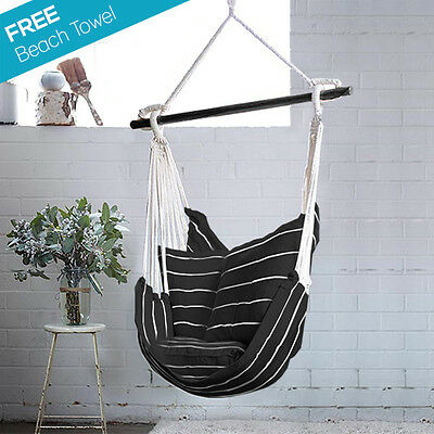SALE WAS $99 NOW $69 BLACK & WHITE Hanging Hammock Chair Swing + 2 CUSHIONS