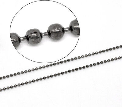 2mtr QUALITY GUNMETAL PLAIN BALL CHAIN 2mm +20 CONNECTORS~Necklace~Tags (CH17)UK