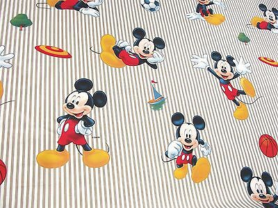 100% Cotton Fabric Material Disney - SPORTY MICKY MOUSE BEIGE