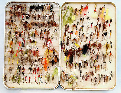 """6"""" x 4 PERRINE alloy fly fishing box foam lined and holding 180+ modern  flies"""