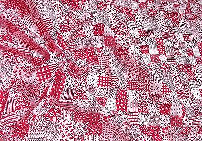 100% Cotton Fabric Material Patchwork Print - RED