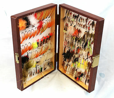 "9"" x 6"" leatheretet covered wood fly box holding 160 + flies and streamer flies"