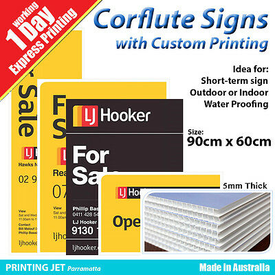 90cm x 60cm Corflute Signs with Printing [5mm Thick Corflute Panel]