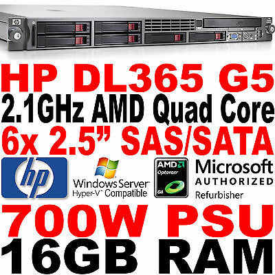 Quad Core HP ProLiant Con Installazione A Rack Server DL365 G5 16GB RAM P400 SAS