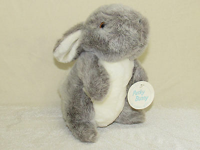 "Vtg Eden Plush ""PERKY"" Bunny Rabbit EUC w/Tag Gray/White Korea Stuffed Animal"