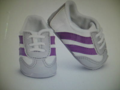 """Purple /& White Striped Flats w//Bow Shoes made for 18/"""" American Girl Doll Clothes"""