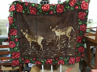 Antique Stroock Buggy Horse Hair Lap Blanket Vguc Deer Glass Eye Rich Colors