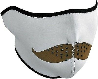 Zan Neoprene Half Face Mask Cold Weather Riding White Brown Mustache New NWT