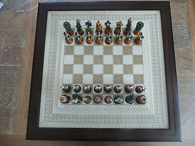 """FRANKLIN MINT """"Indian Mutiny"""" pewter chess game jeu echec England Soldiers Army"""