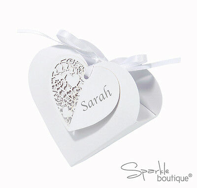Heart Shaped Favour Boxes x10 - With Ribbon & Name Tags- White Gift Box -Wedding