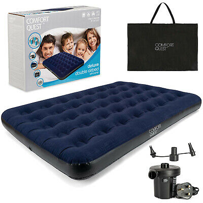 Double Airbed, Carry Bag & Electric Pump Inflatable Camping Blow Up Mattress