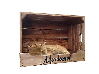 Personalised Wooden Pet Bed Crate with Roof - (Cats or Small Dogs)