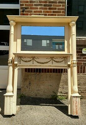 Reclaimed Antique Fireplace Mantel, French Provincial with Columns. Salvaged
