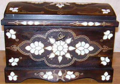 """15""""x10""""x10"""" Handmade Turkish Mother Of Pearl Decorated Wood Box/Chest"""