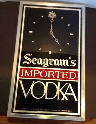 Seagram's Imported Vodka Bar Sign Liquor Wall Clock  Battery Operated Man Cave
