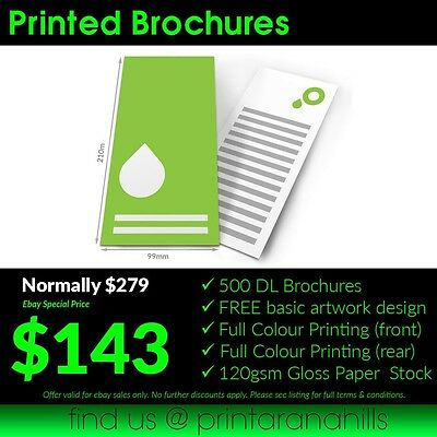 500 Print DL Brochures/Flyers (Full Colour Double Sided)  - 210x99mm - DL05002