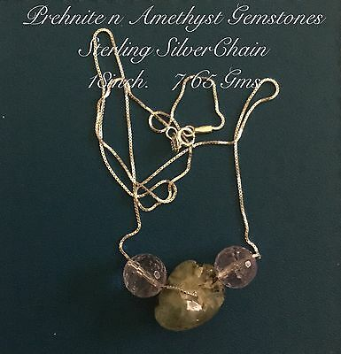 00017 Stunning Sterling Silver Natural Amethyst n Prehnite Gemstone Necklace™