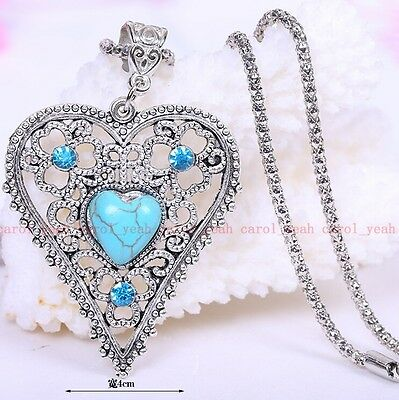 new Christmas!Tibet silver inlaid natural turquoise Big heart necklace pendant