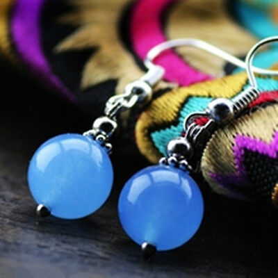 Handmade 12MM Smooth blue Jade Chalcedony Silver Hook Dangle Earrings