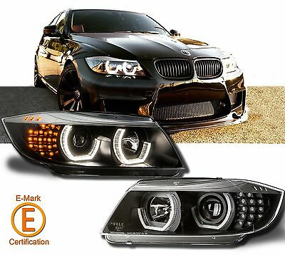 Black Headlight Halo Projector For BMW E90 E91 3 Series  LED DTM Style 09-12