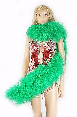 "peak green 20 Layer luxurious fluffy Ostrich Feather Boa 2 yard (71""long )"