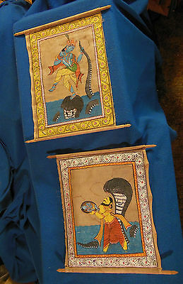 Antique Hindu God Scenes Hand Painted Scroll Paintings Estate Find