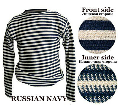 Russian Navy Telnyashka 100% Cotton Military Marine Navy Russian Striped T-Shirt