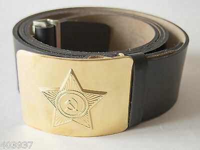 Original Soviet Army Military Black Belt For Soldier, With The Ussr Star Buckle