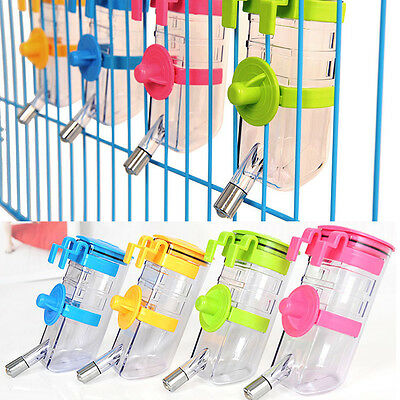 Pet Dog Cat Water Drinker Hanging Bottle Dispenser Bird Rabbit Auto Feeder 350ml