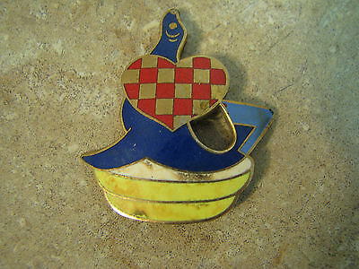 Vintage/Antique COLORFUL ENAMEL ON METAL Brooch/Pin SEAL WITH CHECKERBOARD HEART