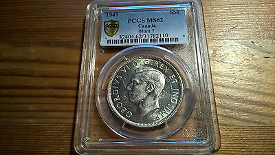 1947 Blunt Canada Silver Dollar $1 Coin Pcgs Ms62 Mint Lowest Price! Free Ship!