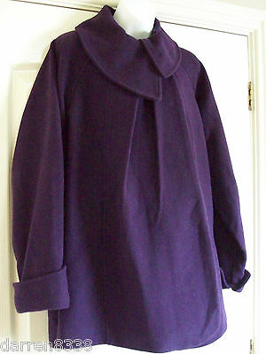 New~Jojo Maman Bebe~Maternity Coat Jacket Uk 16 Wool Mix Swing Style Purple