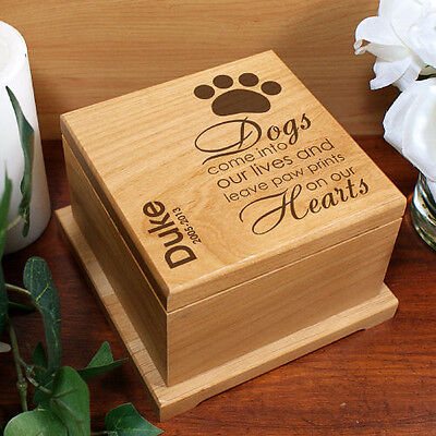 Personalized Paw Prints on Our Hearts Alder Wood Engraved Dog Cremation Urn