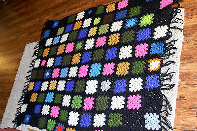 Crochet Granny Square Hand Made Multi Color Afgan Blanket Throw