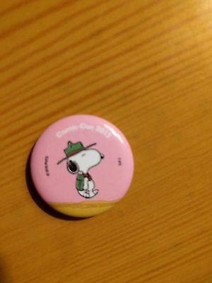 """Peanuts 2013 SDCC Snoopy Promotional Button 1.25"""" New Pink Camping Scout"""