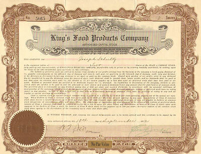 King's Food Products Company   1922 share stock certificate