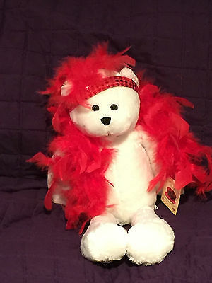 """NWT Chantilly Lane Musicals 18"""" Roxie Bear w/Red Boa """"I Wanna Be Loved by You"""""""