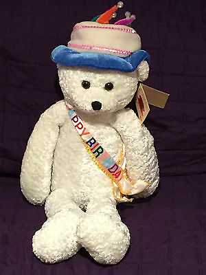 """NWT Chantilly Lane 22"""" Birthday Bear sings """"Happy Birthday To You""""  candlelights"""