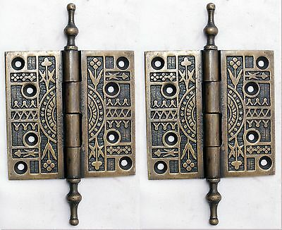 "Steeple Top Solid Heavy Brass 4"" Door Hinges Vintage Set of 2"