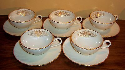 Lot Of 5 Lenox Orleans Cups And Saucers Cream / Ivory # D515