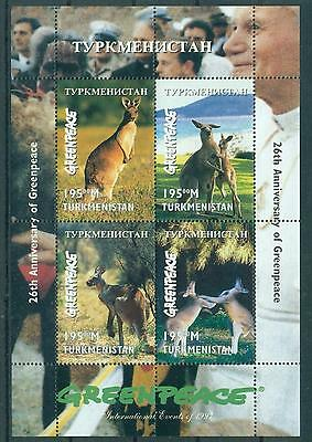 Turkmenistan 1997 26Th Anniv. Of Green Peace - Kangoroos S/s Mnh M14242