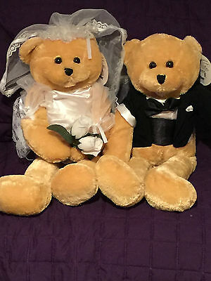"""NWT Chantilly Lane 22"""" Cohair Bride & Groom Bears sing 2 different songs *RARE*"""