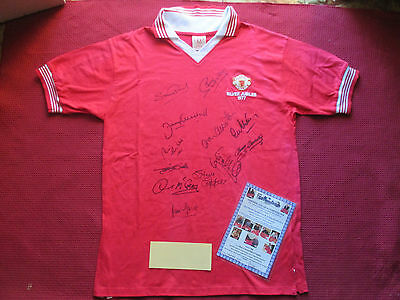 Manchester United 12 Legends Signed 1977 Silver Jubilee Shirt- Large-Photo Proof