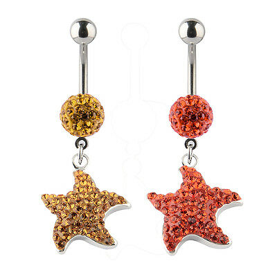 14g Made With Swarovski Crystals Seahorse Charm Dangle Navel Belly