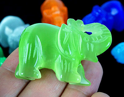 Murano Art-Glass Animal Figurine-Glass green Elephant D0119