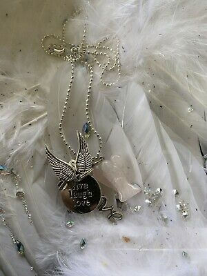 Code 471  LIVE LAUGH LOVE Rose Quartz Carved Angel Infused Necklace Archangel