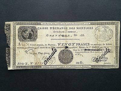 France Assignat 20 Francs Rouen French Revolution Note VG