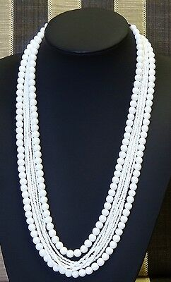 Vintage Necklace Eight Strand White Beads Hand Made Silver Tone Clasp Exc Con 76